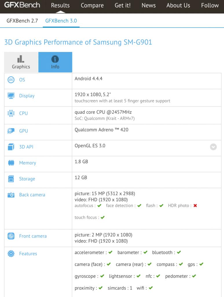 S5 LTE specs