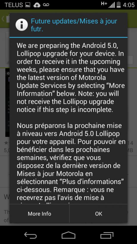 Moto G 2013 lollipop