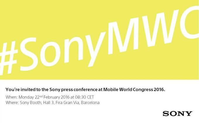 Convite da Sony para a MWC16