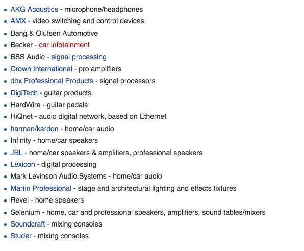 Sub-marcas da Harman (Wikipédia)