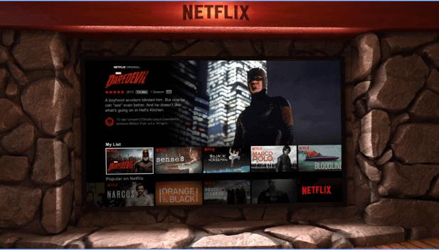 Ambiente que terás ao utilizar a Netflix VR