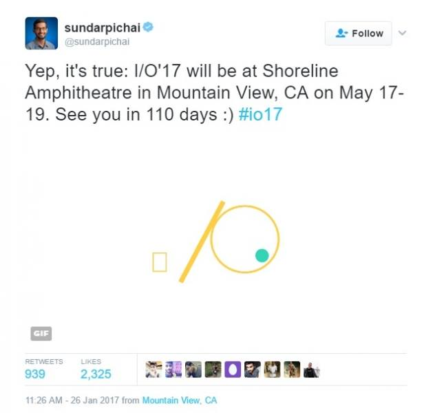 Tweet apresentação Google I/o