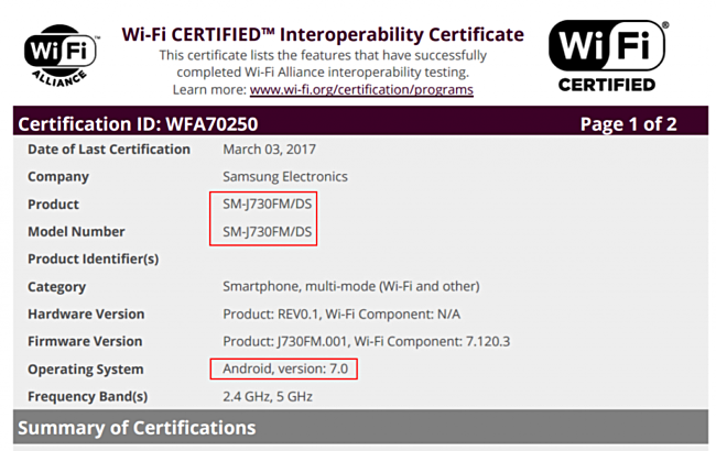 samsung galaxy j7 2017 wifi certification