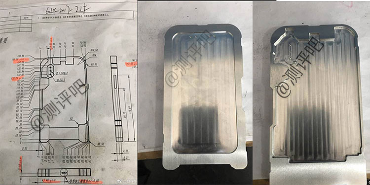 Alegado molde e esquema do iPhone 8