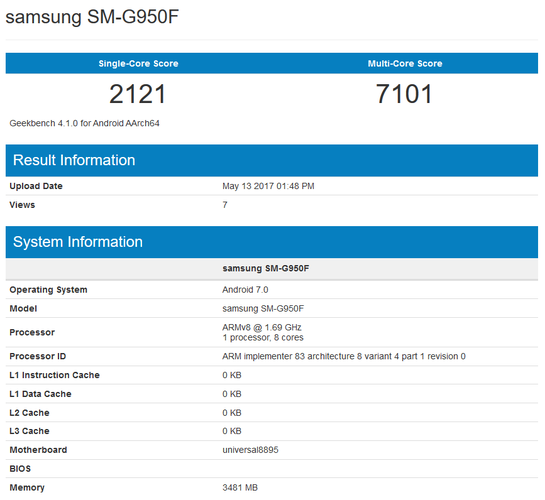 Samsung Galaxy S8 - Geekbench