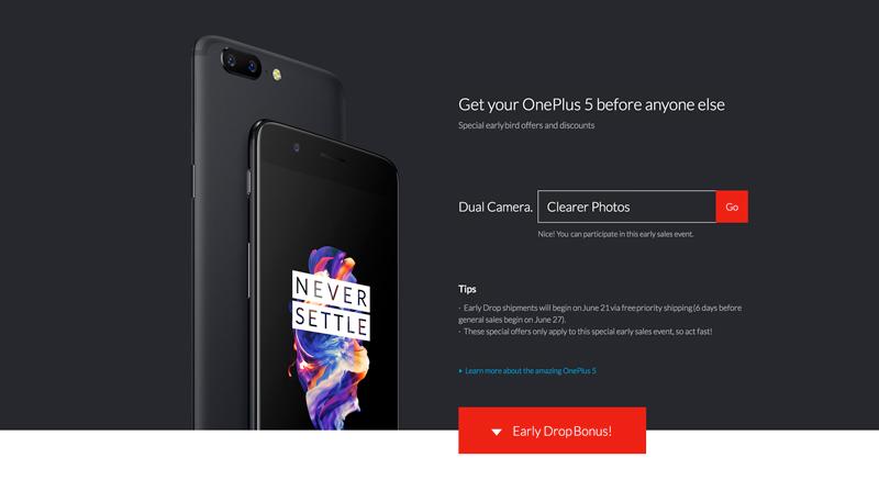 Terás de introduzir o código para comprar o OnePlus 5