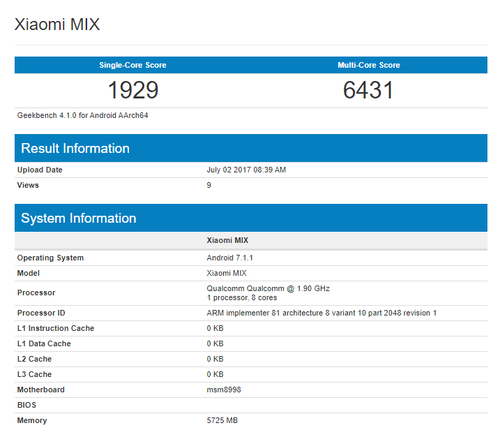Mi Mix 2 Geekbench
