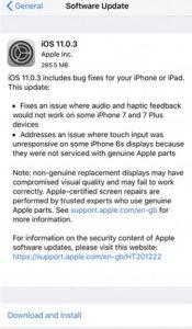 Apple iPhone iPad iOS 11.0.3