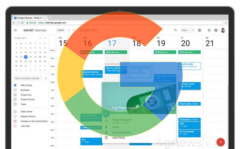 Calendário Google Android design atenção