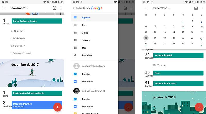 Calendário Google Android atenção Material Design