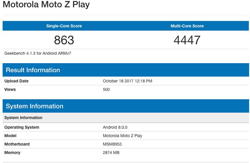 Motorola Moto Z Play Android Oreo