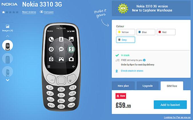 Nokia 3310 3G europa