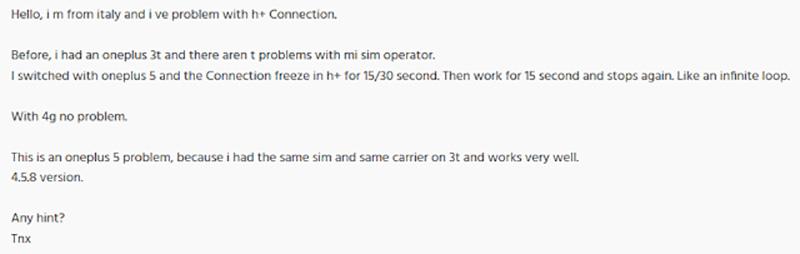 Problemas de rede OnePlus 5