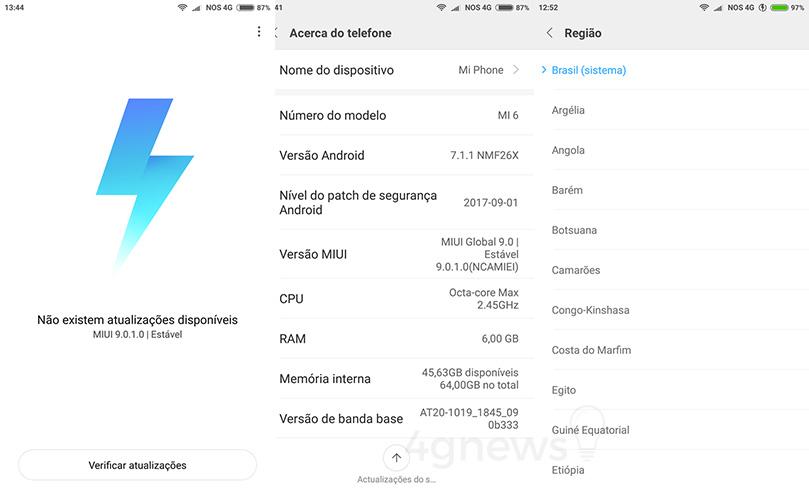 MIUI 9 Xiaomi Mi 6 versão estável