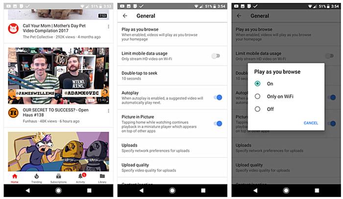 YouTube auto Android reprodução automática