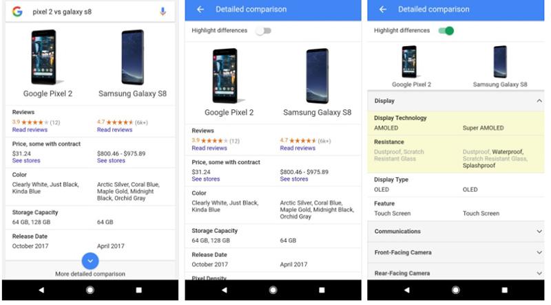 Pesquisa Google comparar smartphones