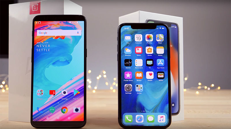 OnePlus 5T Apple iPhone X