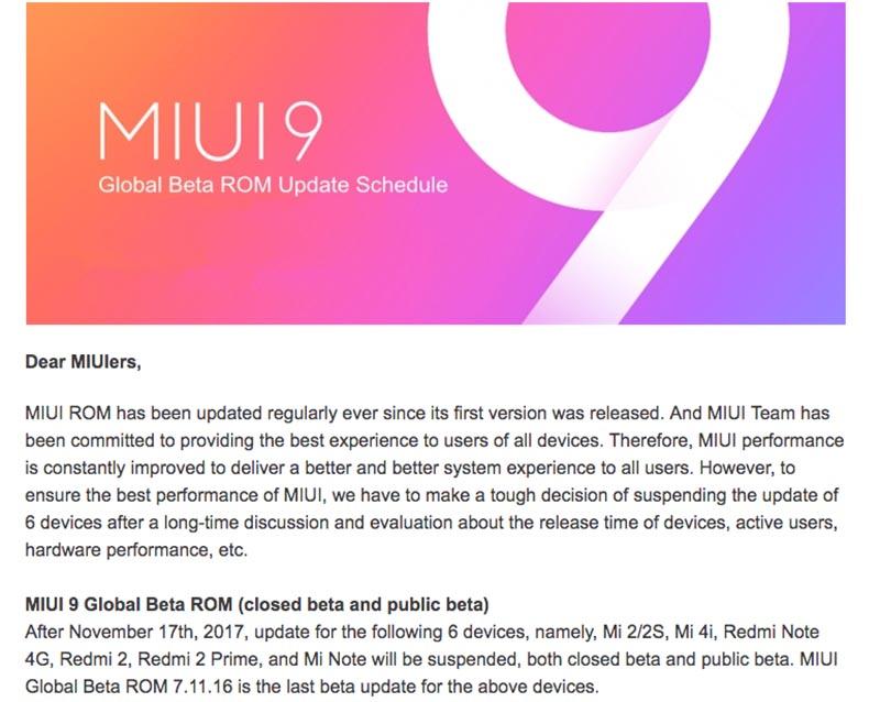 Xiaomi MIUI 9 atualização smartphones