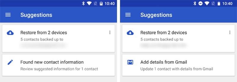 Google Contacts Android atualização