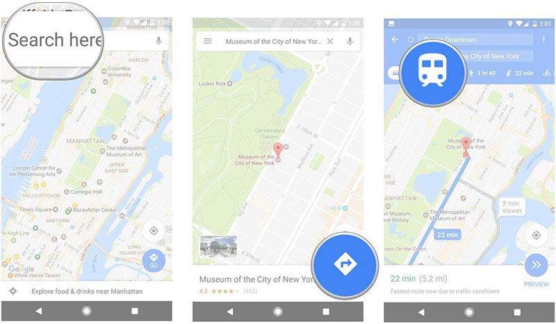 Google Maps autocarro Android iOS Web