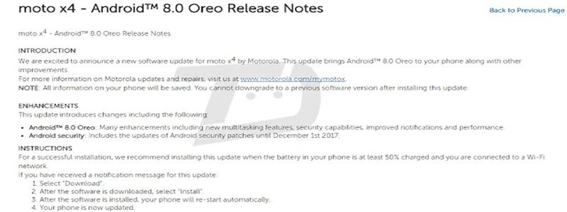 Motorola Moto X4 Android Oreo 8.0