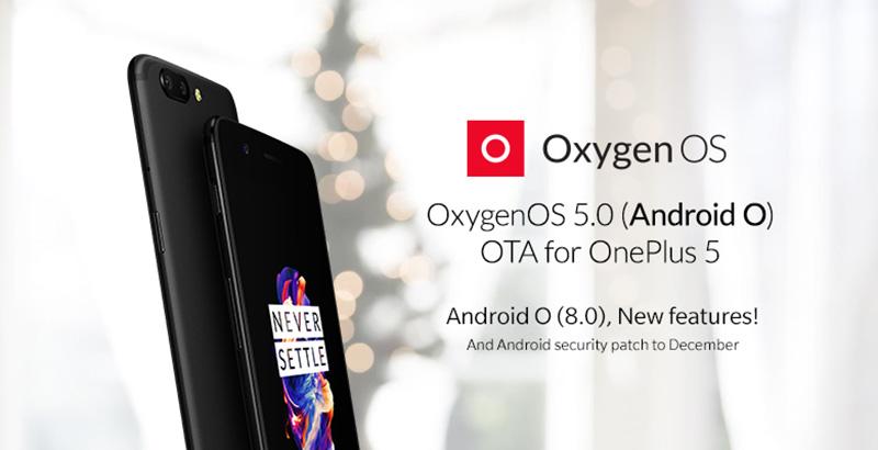 OxygenOS 5.0 Android Oreo 8.0 OnePlus 5
