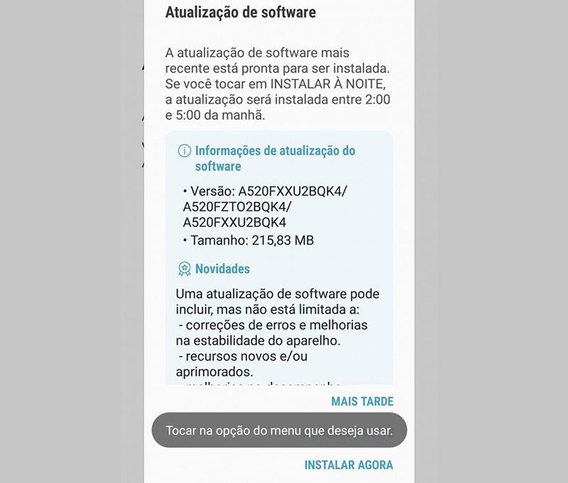 Samsung Galaxy A5 2017 atualização