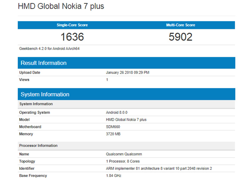 Nokia 7 Qualcomm Snapdragon 660 Android
