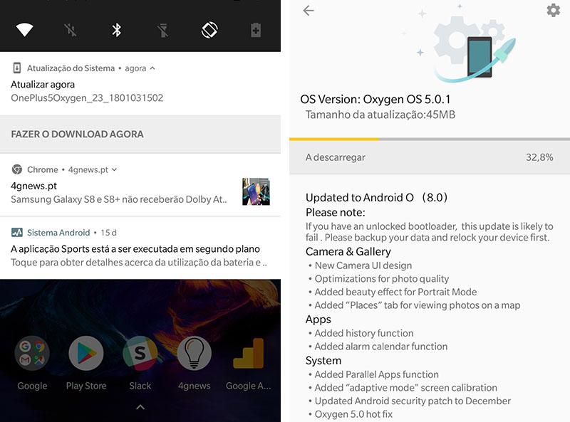 OnePlus 5 Android Oreo OxygenOS 5.0.1