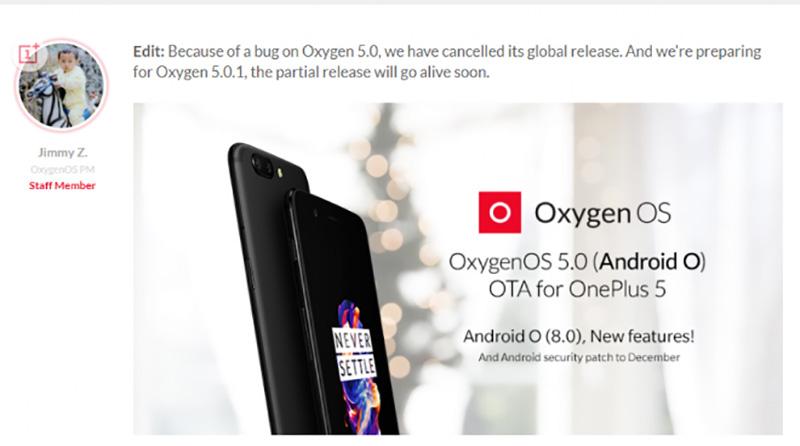 OnePlus 5 Android Oreo OxygenOS 5.0