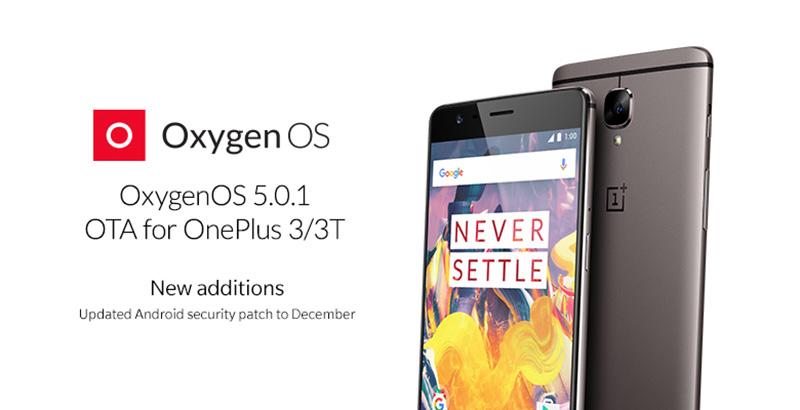 OxygenOS 5.0.1 Android Oreo OnePlus 3 OnePlus 3T