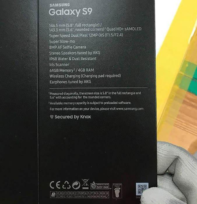 Samsung Galaxy S9 caixa Android