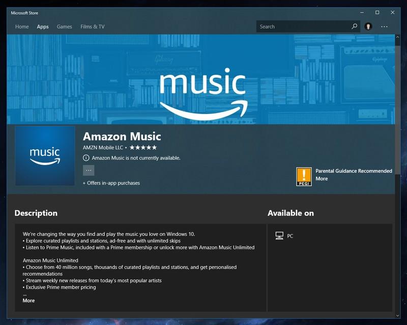 Amazon Music Microsoft Windows 10