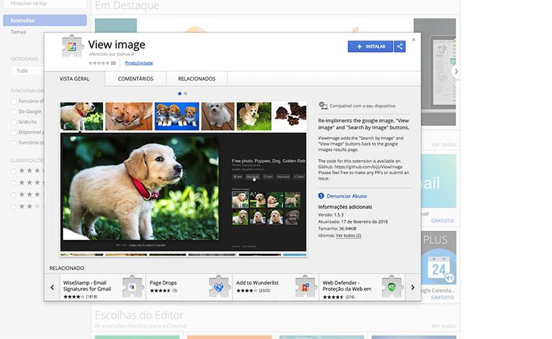 Google Imagens botão ver imagens Chrome