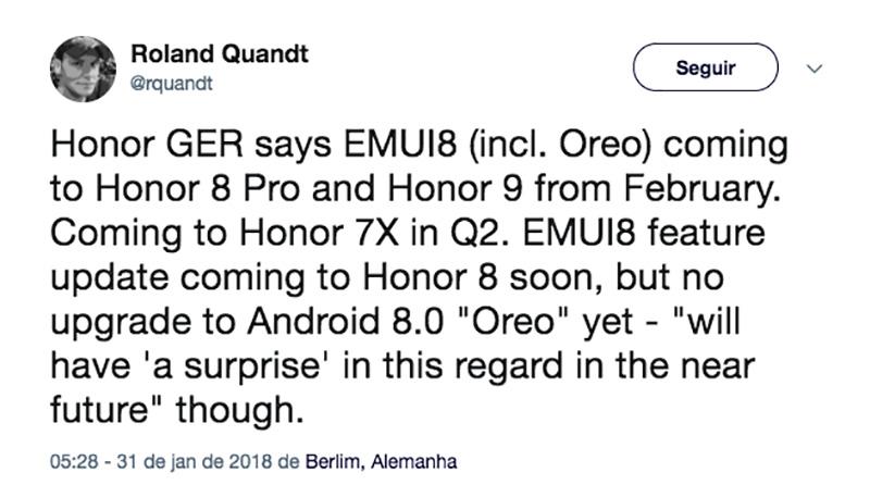 Honor 8 Pro Android Oreo EMUI 8.0