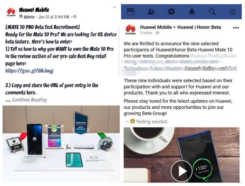 Huawei Mate 10 Pro fake reviews