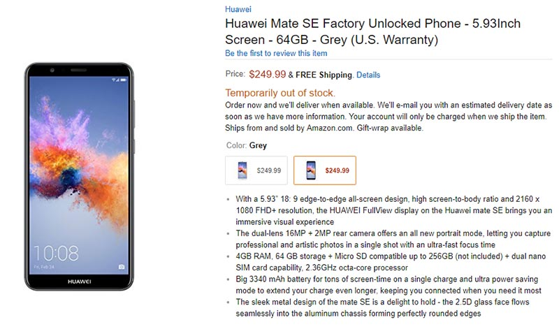 Android Huawei Mate SE Huawei Honor 7X