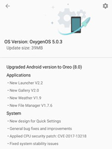 OxygenOS 5.0.3 OnePlus 5T smartphone FaceID
