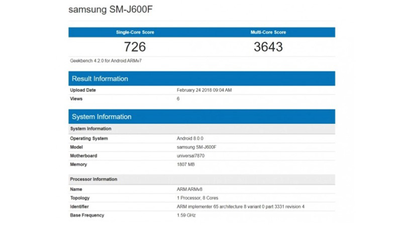 Samsung Galaxy J6 Android Oreo GeekBench