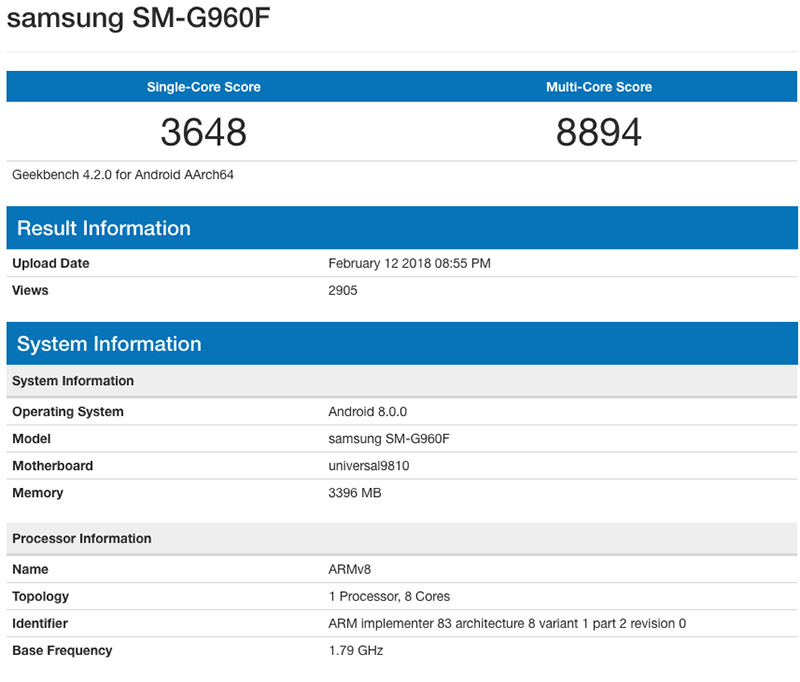 Samsung Galaxy S9 Exynos 9810 Android Oreo