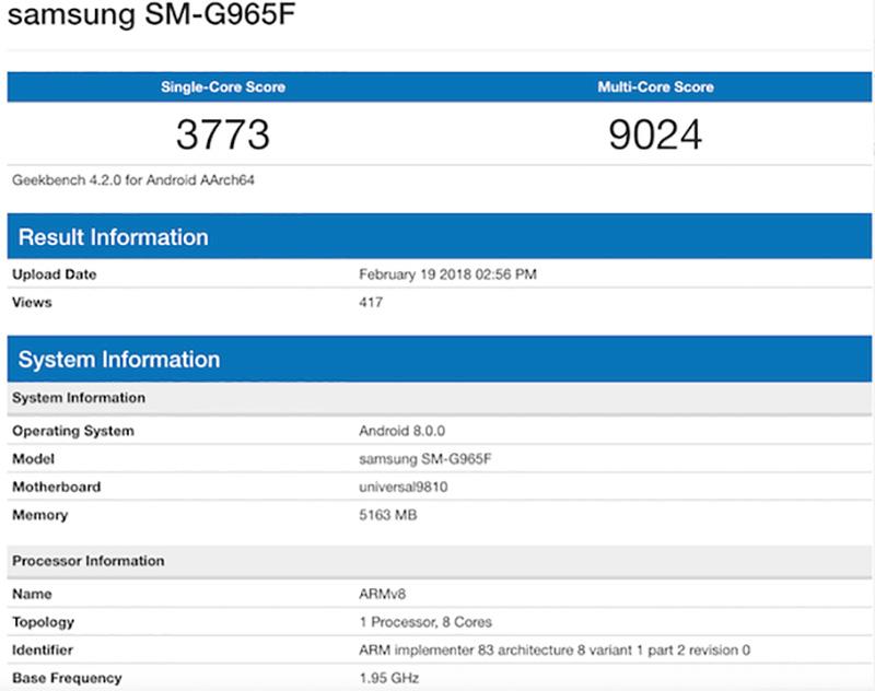 Samsung SM-G965F Samsung Galaxy S9