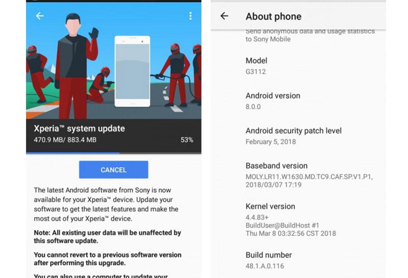 Android Oreo Sony Xperia XA1