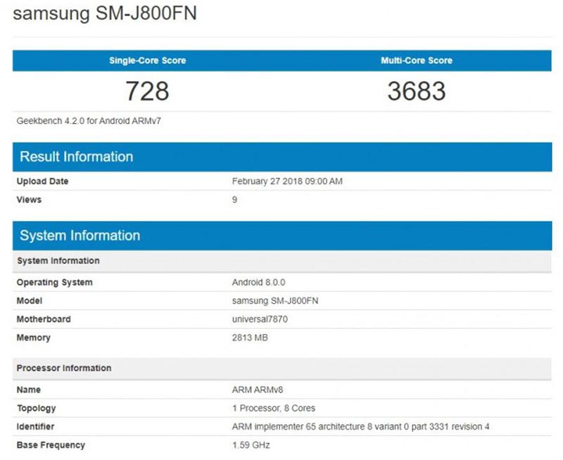 Samsung Galaxy J8 2018 GeekBench Android
