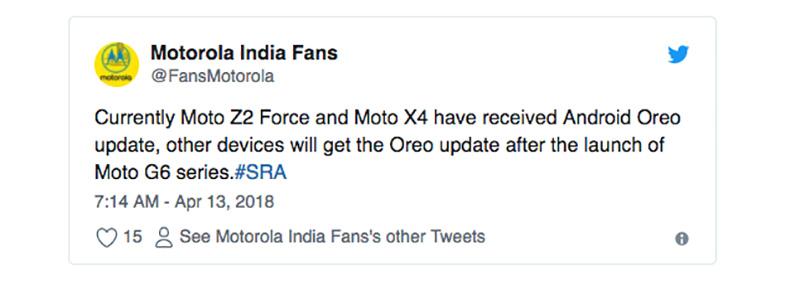 Android Oreo Motorola Moto G5