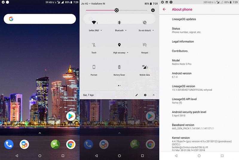 LineageOS 15.1 Android Oreo Xiaomi Redmi