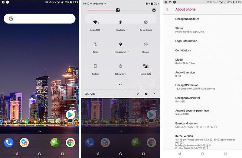 LineageOS 15.1 Xiaomi Redmi Note 5 Pro