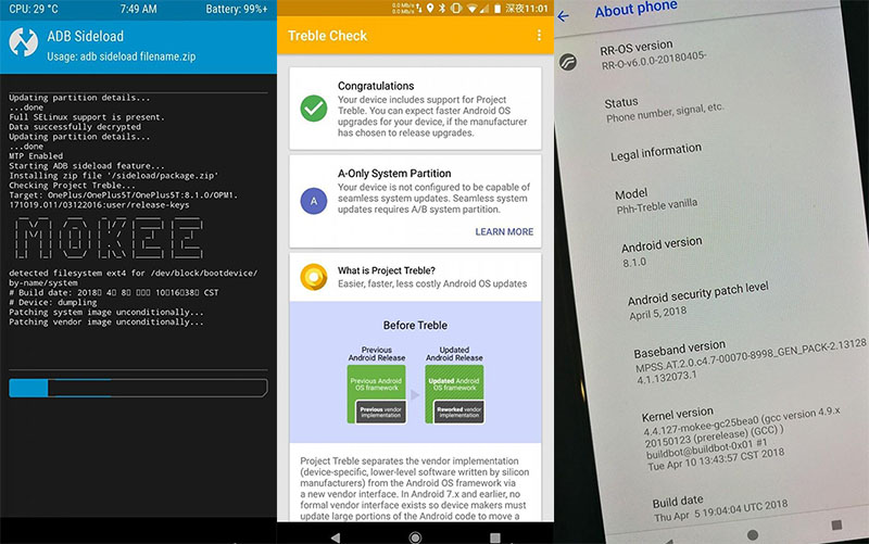 OnePlus 5 OnePlus 5T Projecto Treble da Google