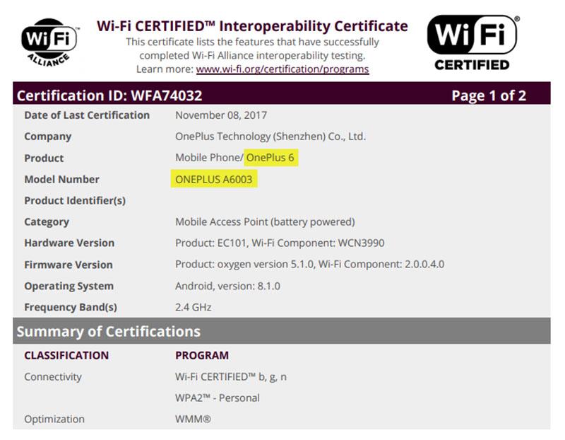 OnePlus 6 Android Oreo Wi-Fi Alliance