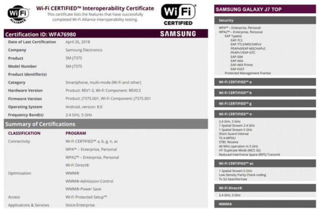 Samsung Galaxy J7 Top Android Oreo
