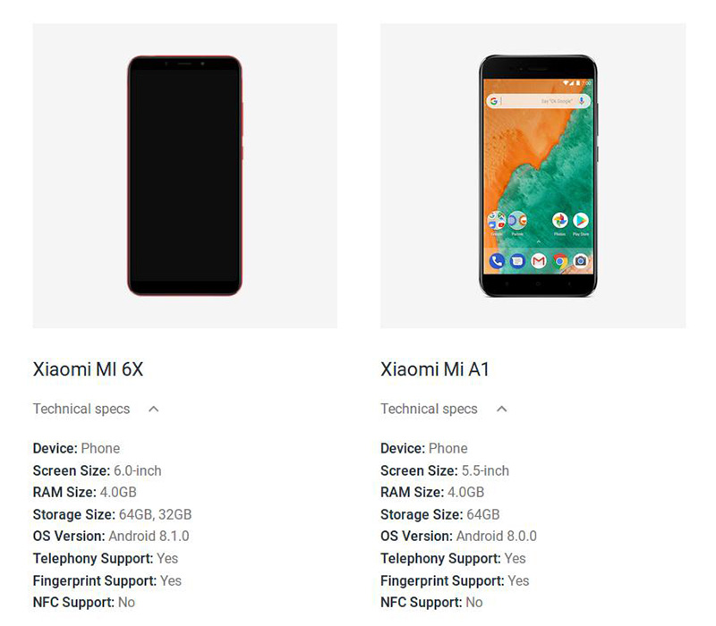Xiaomi Mi 6X Android One Google